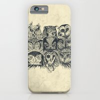 owls iPhone & iPod Cases featuring Nine Owls by Rachel Caldwell