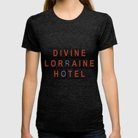Divine Lorraine Hotel Womens Fitted Tee Tri-Black SMALL