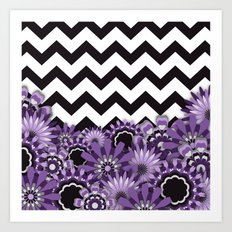 Purple Flower Chevron Art Print