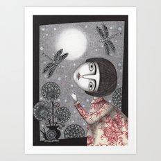 Night Sky. Dragonfly. Art Print