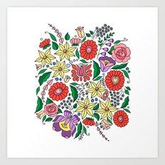 Hungarian embroidery motifs Art Print