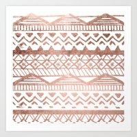 Faux rose gold handdrawn trendy tribal aztec pattern Art Print