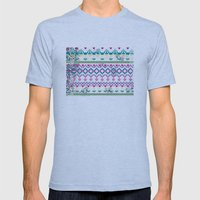 Fluorescent Aztec Mens Fitted Tee Athletic Blue SMALL