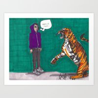 Fighting A Tiger Before … Art Print