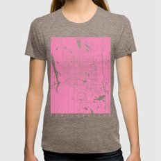 Fort Collins Map Pink Womens Fitted Tee Tri-Coffee SMALL