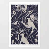 Cockatoo Evening Blue Art Print