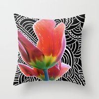 Tulip Drawing Meditation Throw Pillow