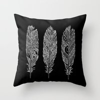 Patterned Plumes - White Throw Pillow