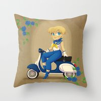 Retro Sailor Uranus Throw Pillow