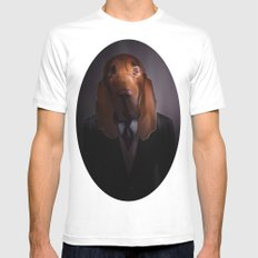 Good-Night, Sir Hound White Mens Fitted Tee SMALL