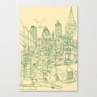 London! Cream Canvas Print