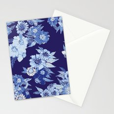 Floral pattern in Indigo Stationery Cards