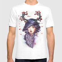 Woman with Antlers Mens Fitted Tee White SMALL