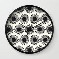 Vintage Flower_Black Wall Clock