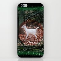 The white Deer Of Winter In Green iPhone & iPod Skin
