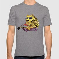 Skating Cheetah Mens Fitted Tee Tri-Grey SMALL