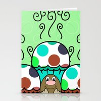 Cute Monster With Cyan And Blue Polkadot Cupcakes Stationery Cards