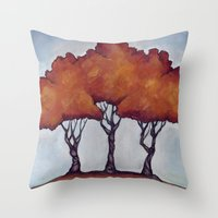 Fall Crepe Myrtles Throw Pillow