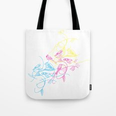birds doodle in cmyk Tote Bag
