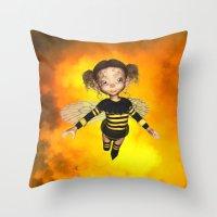 Little Bee Girl Golden C… Throw Pillow