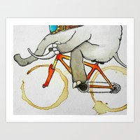 Elephant on a Bike Art Print
