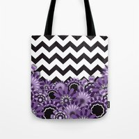 Purple Flower Chevron Tote Bag