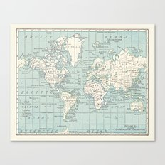 World Map in Blue and Cream Canvas Print