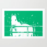White Horse Forest Green Art Print