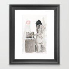 Listening to Records Framed Art Print