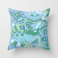 Abstract Animals - Blue and Green  Throw Pillow