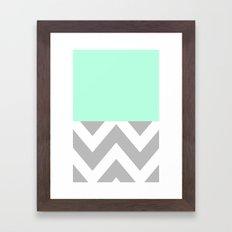 MINT & CHEVRON COLORBLOCK Framed Art Print