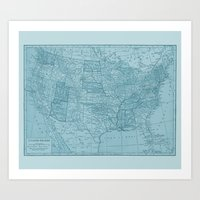 Vintage America in Blue Art Print
