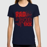 Rad to the Power of Sick - Red Print Womens Fitted Tee Navy SMALL