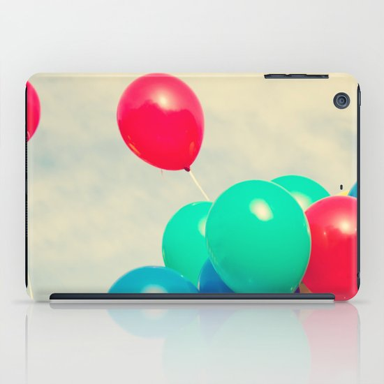 Red and Blue balloons on retro sky iPad Case