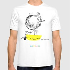 A man in a boat SMALL Mens Fitted Tee White