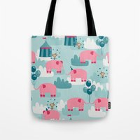 Pink Elephant Circus Tote Bag