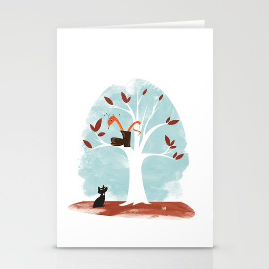Pinkerton Snake Gets Stuck in a Tree Stationery Card