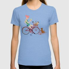 Love Letters Womens Fitted Tee Tri-Blue SMALL