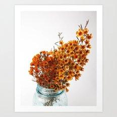 Fall Blooms - Orange Art Print