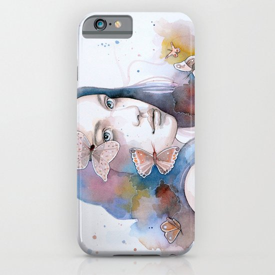 Lady with a butterfly, watercolor painting (version 2) iPhone & iPod Case