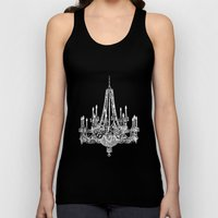 Chic White and Gray Chandelier   Unisex Tank Top
