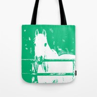 White Horse Forest Green Tote Bag