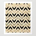 Black & Gold Glitter Herringbone Chevron on Nude Cream Art Print
