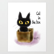 Cat In The Box Art Print