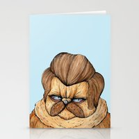 Ron Swanson Cat Stationery Cards