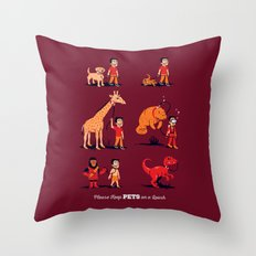 Please Keep Pets on a Leash Throw Pillow