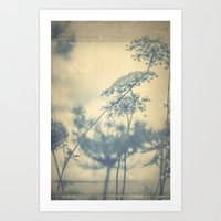 Chinoiserie -- Timeless with Queen Anne's Lace in Blue and Cream Vintage Duotone Art Print