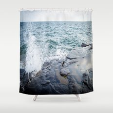 Rough waters- color  Shower Curtain