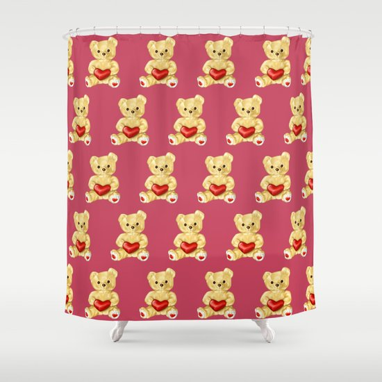 Cute Teddy Bears Pink Pattern Shower Curtain By Boriana Giormova Society6