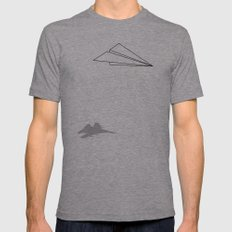 Paper Airplane Dreams Mens Fitted Tee Athletic Grey MEDIUM